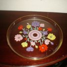 Vintage RETRO GLASS PLATTER WITH FLOWERS