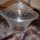 Vintage Glass Candy Dish Bowl With Lid Floral Pattern