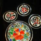 Mosaic Glass Coasters & Larger Glass Holder Footed