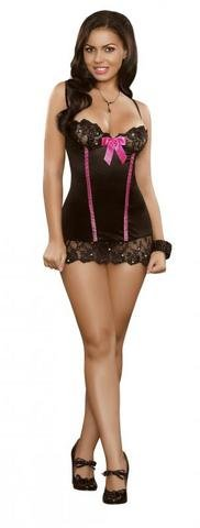 Chemise and G-String Black Sequin Lace S/M
