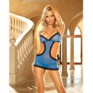 Mesh romper w/black lace trim and g-string royal blue