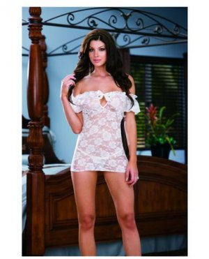Stretch lace peasant styled babydoll