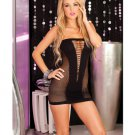 Pink lipstick v-plunge seamless mini dress black o/s