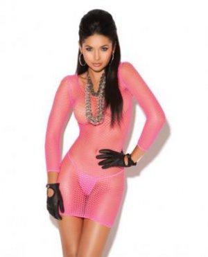 Vivace long sleeve diamond net mini dress neon pink o/s