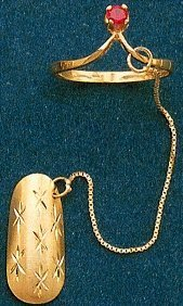 Genuine 14kt Gold Finger Nail with attached chain and ring with stone #14ktFGNL-03
