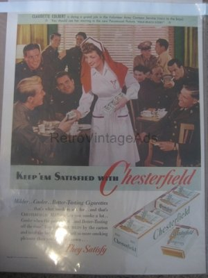 CHESTERFIELD NURSE WWII 2 Army War Vintage Magazine Ad POSTER Gift Unique Retro