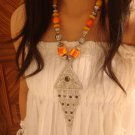 National characteristics of Tibet yellow button bead alloy triangle disc Necklace F-39 N049