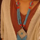 National characteristics of Tibet blue fringe beads square card Necklace F-209 N058