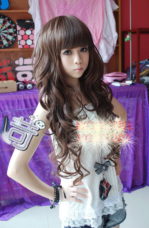 Free Shipping high quality Guarantee100% Hot-sales brand new  wig W025 Long curly hair Qi Liu