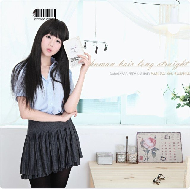 Free Shipping high quality Guarantee100% Hot-sales brand new  wig W048 Qi bangs long straight hair