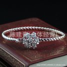 Free Shipping high quality 925Sterling Silver Guarantee100% Twisted flower Bracelet B064