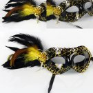 Free Shipping High Quality Guarantee100% A++++++Side Feather Masquerade Halloween mask painted052