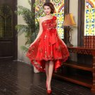 Hot Sexy Sequin Hi-Lo Lace-Up Red Party Dress Women New Fashion Slim Bridesmaid Clothing Wedding