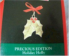 Hallmark 1992 Holiday Holly Precious Edition Miniature Ornament