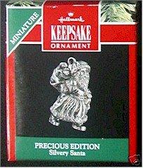 Hallmark 1991 Silvery Santa Precious Edition Miniature Ornament