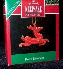 Hallmark 1990 Ruby Reindeer Miniature Ornament