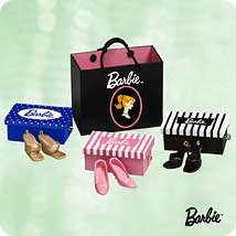 Hallmark 2003 Shopping For Shoes Barbie Set of 7 Miniature Ornaments