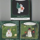 Hallmark Holiday Flurries Series Complete Set of 3 Miniature Snowman Ornaments
