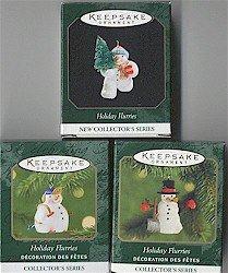 Hallmark Holiday Flurries Series Complete Set of 3 Miniature Snowman Ornaments