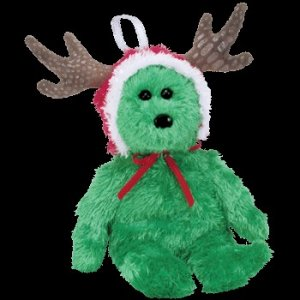 Ty Jingle Beanie Baby 2002 Holiday Teddy the green Bear Retired