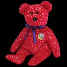 Decade the Bear Red Ty Beanie Baby Retired
