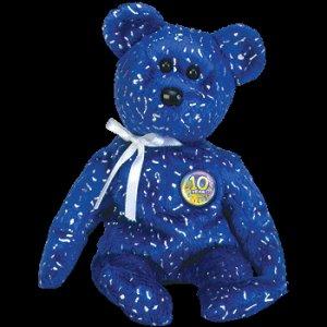 Decade the Bear Royal Blue Ty Beanie Baby Retired