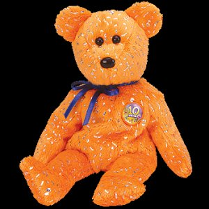 Decade the Bear Orange Ty Beanie Baby Retired