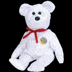 Decade the Bear White Ty Beanie Baby Retired