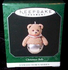 Hallmark 1998 Bear Christmas Bells Series Miniature Ornament