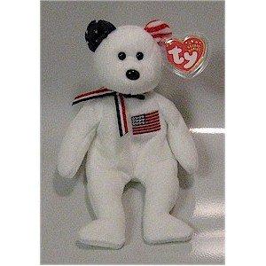 America the White 9-11 Bear Ty Beanie Baby Retired USA