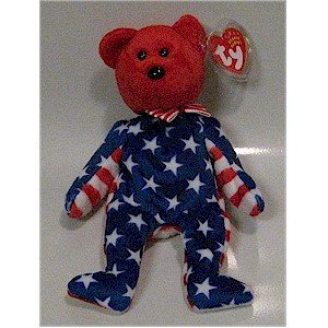 Liberty the Red Face Bear Ty Beanie Baby Retired USA