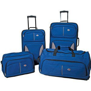 American Tourister-Blue Fieldbrook 4-Piece Travel Case Set
