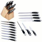 Slitzer-16pc Double-Forged Bolster Kitchen Cutlery Set in Wood Block