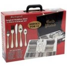Sterlingcraft-72pc High-Quality,Heavy-Gauge S.S. Flatware & Hostess Set w/ 24K Gold-Plated Trim