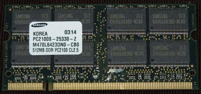 SAMSUNG 512MB DDR PC2100 CL2.5 SODIMM 200 PIN RAM