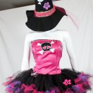 3pc Cute Pretty Punk skul Witch Tutu Petticoat Costume Fuchsia Black glitter S M
