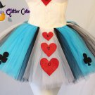 Cute Alice in wonderland queen of hearts blue white red tutu costume skirt 1 sz