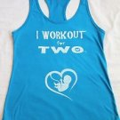 I workout for two baby bump pregnancy maternity gym crossfit blue tank top L