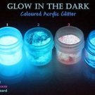 GID GLOW IN THE DARK NAIL ACRYLIC GLITTERS SET 4 COLORS 1/2oz Each, 56grams 2oz