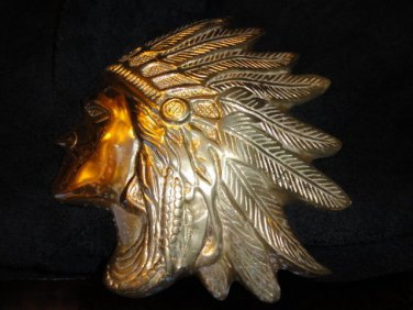 "Brass Wall Plaque of Indian Chief Head 9.75"" across"