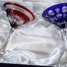 Faberge Crystal  Martini Glasses set of 2 in the original  Faberge Blue Box