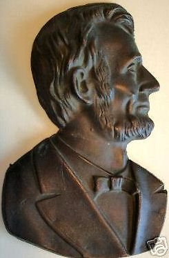 Abraham Lincoln Brass Plaque Bust