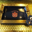 Punch ceramic blue and gold cigar ashtray new in box with cigar cutter