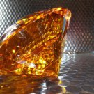 Topaz Crystal Cut Clear Paperweight Faceted Prism Glass Art Diamond Shape