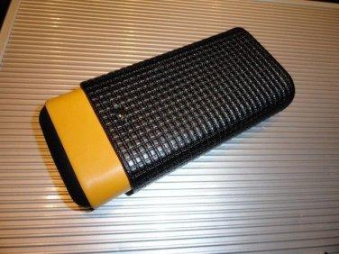 Cohiba Black & Gold Leather & wood Cigar Case holds 3 Large cigars