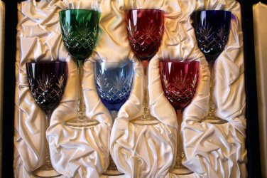 Faberge Crystal Odessa Colored Wine Glasses in  the original box with cert
