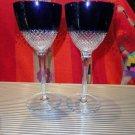 Faberge Crystal Cobalt Blue  Goblet Glasses