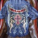 Retrofit mens casual shirt adult Blue Denium with tags Medium size