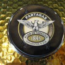 Partagas 1845 Cigar Logo Coaster Chome edging with leather bottom