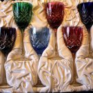 Faberge Odessa Hock Wine Glases in mixed colored crystal in the original box